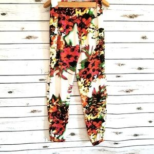 Large Floral Orange Haden Tapered Ankle Pants